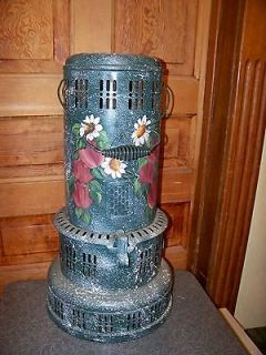 Antique Perfection Smokeless Oil Heater Hand Painted Folk Art Great