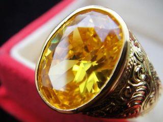 12 Mens GOLD RING Easy Stunning YELLOW Sapphire Gemstone Thai Jewelry