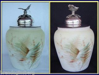 Antique Humidor / Cookie Jar Mt Washington Crown Milano Glass (4024)