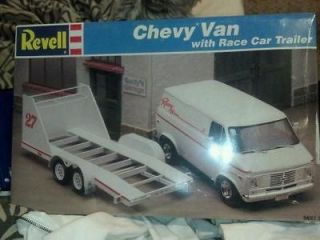 Revell Chevy Van With Race Car Trailer Model Kit# 7250 Factory Sealed