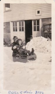 Vintage Old Photo Cute Boy & Girl on Sled in Snow USA 1943 Wintertime