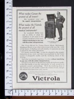 Victrola Hand Crank Phonograph magazine Ad Caruso Opera music w2822