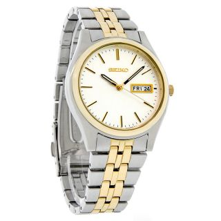 Seiko Quartz Mens Silver Day/Date Dial Two Tone Bracelet Dress Watch