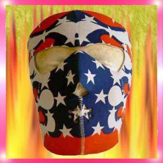 One Red White Blue Reversible Neoprene Full Face Mask Cover Ski USA