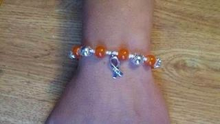 MULTIPLE SCLEROSIS MS Bracelet ORANGE & SILVER Ribbon Awareness