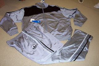 Adidas Silver Track Set Jacket (XL) Pants (L) Mens Large and XL $126