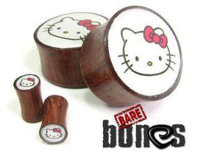 11/16 Blood Wood Organic Body Jewelry Hello Kitty Plugs Gauges