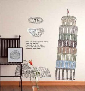 Italy Tower of Pisa DECOR DECAL VINVY ART PVC Removable Wall Sticker