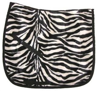 QUALITY BLACK WHITE ZEBRA animal print DRESSAGE SADDLE PAD sattel