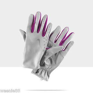 NIKE Womens NEW Gray Raspberry Lightweight Running Athletic Gloves   M