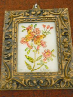 Small Reverse Painting on Glass Flowers and Butterfly Signed K Rand