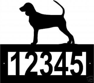 Custom BLACK AND TAN COONHOUND ADDRESS SIGN Steel dog