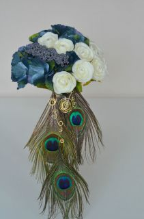 Peacocks feather, Roses,Hydrangea Wedding bridal, bridesmaid bouquet