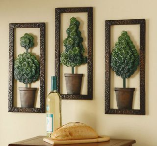 Topiary Metal Home Wall Decor Art Evergreen 3D Wall Hanging Plaque