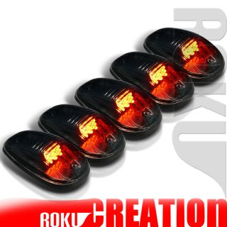 SMOKED ROOF TOP CAB LIGHTS 9 AMBER LED MARKER LAMPS 5 PCS SET+WIRING