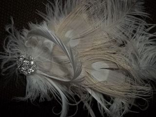 Ivory peacock feather fascinator bridal headpiece NEW