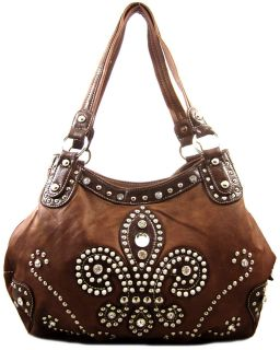 Rhinestone Stud FLEUR DE LIS 3 Compartments Purse Handbag Brown