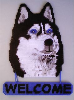 Siberian Husky Welcome Sign Plastic Canvas Pattern