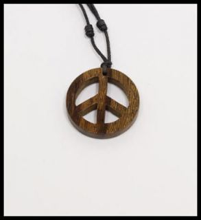 Peace Sign Pendant Small Robles Wood Peace Sign Pendant Necklace Retro