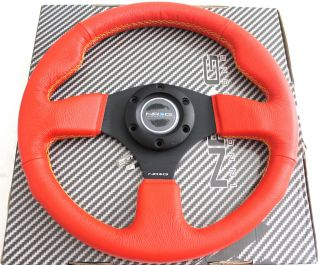 NRG Steering Wheel 320mm Sport Red Leather yellow Stitchsparco Momo