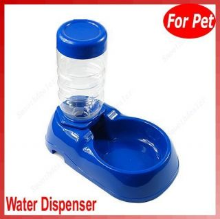 Pet Dog Cat Automatic Water Dispenser Food Dish Bowl Feeder Blue New