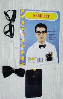 Costume Instant Nerd Set~Glasses~BowTie~Pen Holder~New~Ships Free