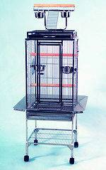 Wrought Iron Parrot Cockatiel Macaw Bird Cage Open Play Top Black Vein