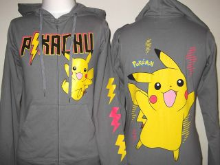 POKEMON Pikachu Womens JR Hoodie XS S M L XL 3XL Grey Print on Back
