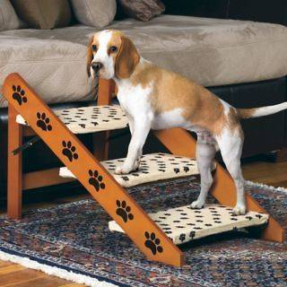 NEW WOODEN 3 STEP CONVERTIBLE PET STEP RAMP 4561