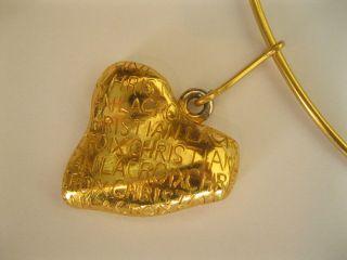 Beautiful Vintage CHRISTIAN LACROIX Necklace gold tone heart pendant