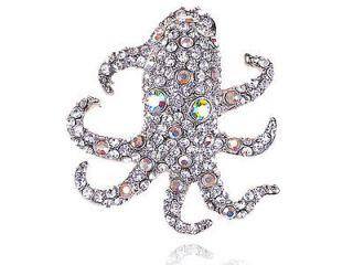 Sea Animal Creature Octopus Crystal Rhinestone Costume Pin Brooch