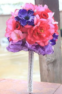 Hand Tied Bridal Wedding Bouquet Purple Pink w/ Crystal Pearls Accents