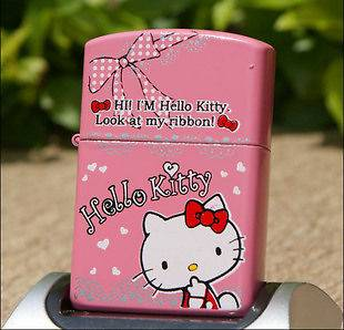 Hello Kitty oil Flip UP lighter & 1 pack Zippo 6 Flints USA seller