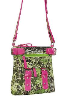 BRIGHT GREEN CAMO CAMOUFLAGE & PINK TRIM MESSENGER BAG PURSE W CLUTCH