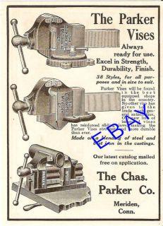 1912 CHARLES PARKER VISE AD BLACKSMITH TOOL MERIDEN CT