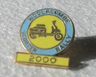 WOOLACOMBE 2000 UK scooter rally mod pin back badge LAMBRETTA Vespa