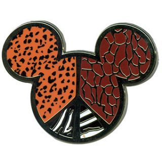 Disney * MICKEY EARS ICON   ANIMAL PRINT PEACE SIGN * Trading Pin