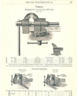 1902 Merrils Parallel & Prentiss Wood Vise Catalog Ad