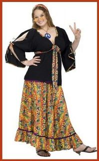 hippie flower costume womens halloween xl plus size adult 70s 80s