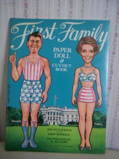 1981 RONALD & NANCY REAGAN FIRST FAMILY PAPER DOLL & CUT OUT BOOK