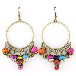 Beautiful Bohemia Gold tone Hoop Beads Dangle Drop Earrings,750 13