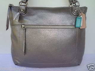 COACH POPPY LEATHER GLAM TOTE BAG SILVER ANTRHACITE HANDBAG PURSE