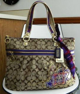 NWOT COACH POPPY APPLIQUE GLAM TOTE 15882 BROWN PURPLE SHOULDER BAG