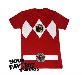 Power Rangers Red Ranger Costume Licensed Adult Red T Shirt S 3XL