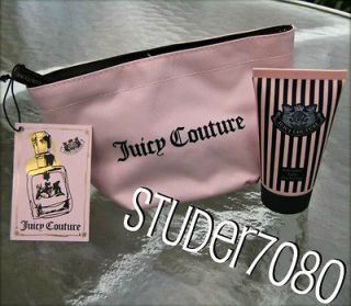JUICY COUTURE  AUTHENTIC RARE PINK+BROWN COSMETIC BAG & BODY LOTION