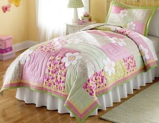 5pc Twin (single) QUILT SET   TEEN GIRLS PINK FLOWER POWER BED