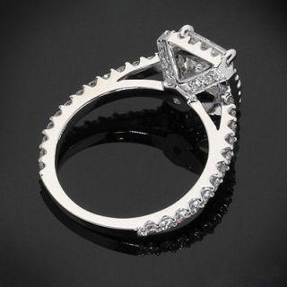 04 CT H/VS2 PRINCESS CUT DIAMOND HALO ENGAGEMENT RING 14K WHITE GOLD