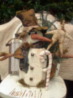 Primitive Pattern Olde Thyme Snowman With Candy cane and Star LOOK