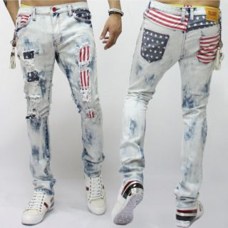 New Mens Fashion US Flag Printed Vintage Wash Spandex Ripped Jean