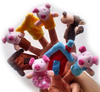 8PCS Lovely Finger Puppet story (The Three Little Pigs).plush toys